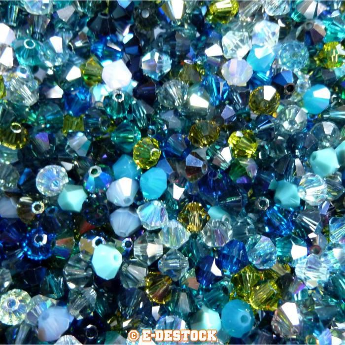 50 Perles Swarovski® Toupies 4mm MULTICOLORE OCEAN