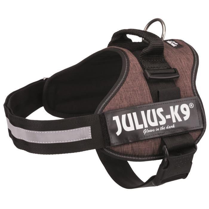 JULIUS K9 Harnais Power 2–L–XL : 71–96 cm - 50 mm - Moka - Pour chien
