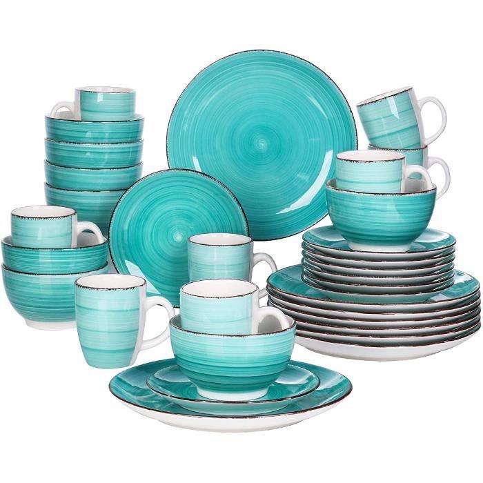 vancasso, Série Bella, Service de Table en Porcelaine,Faïence Style Vintage Rustique,Motif Cercle Arbre-vert 32pcs