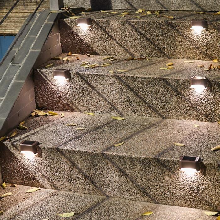 brown case white-1pcs -1-4-8-16 pièces LED Lampe Solaire Chemin D'escalier Applique murale Étanche Extérieure Jardin Paysage Étape P