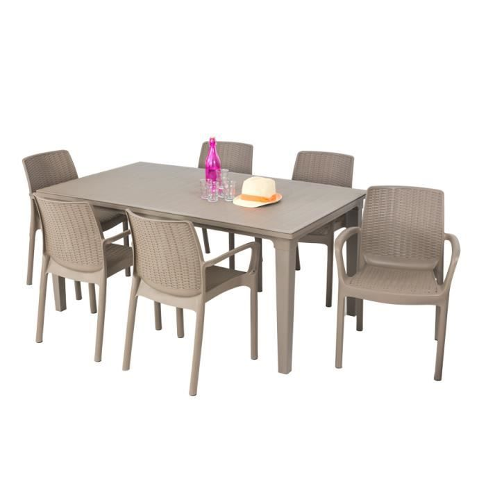 Salon de jardin ALLIBERT table cappuccino + 6 fauteuils taupe ...
