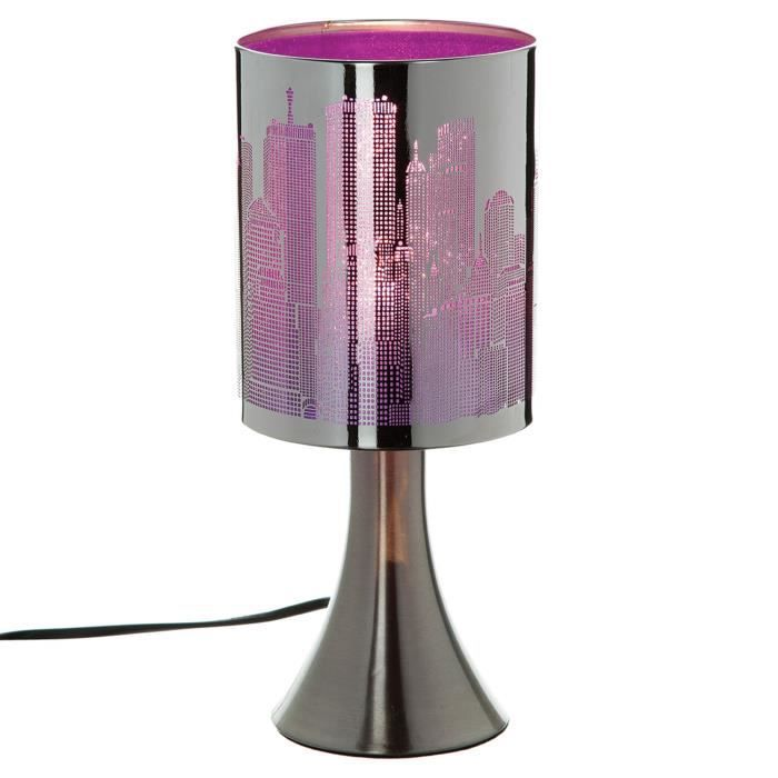 lampe pied new york touch m tal violet achat. Black Bedroom Furniture Sets. Home Design Ideas