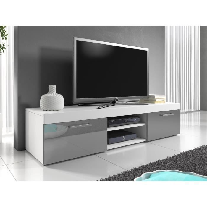 meuble tv mambo 160 cm blanc gris achat vente meuble. Black Bedroom Furniture Sets. Home Design Ideas