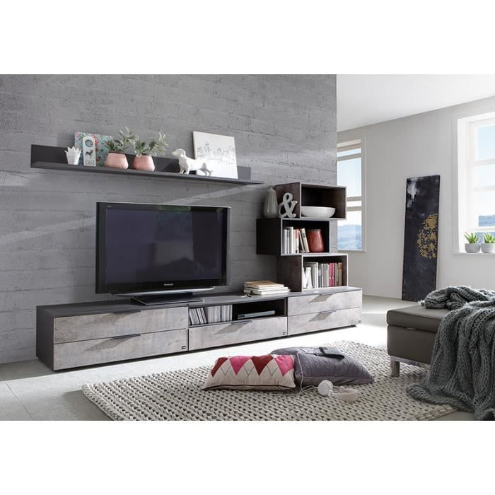 banc tv anthracite et effet b ton contemporain cay achat. Black Bedroom Furniture Sets. Home Design Ideas