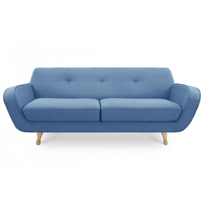 canap scandinave 3 places bleu achat vente canap sofa divan cdiscount. Black Bedroom Furniture Sets. Home Design Ideas