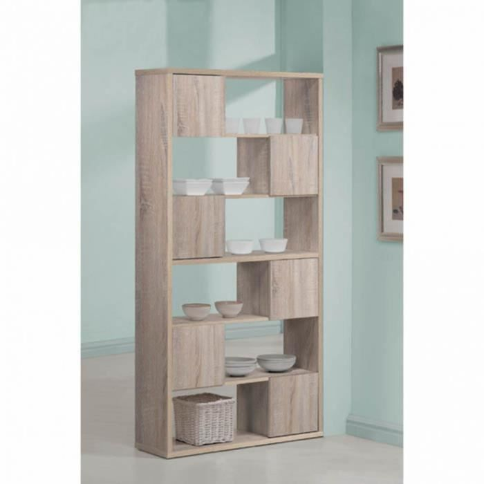 meuble de biblioth que en bois coloris ch ne cl achat. Black Bedroom Furniture Sets. Home Design Ideas