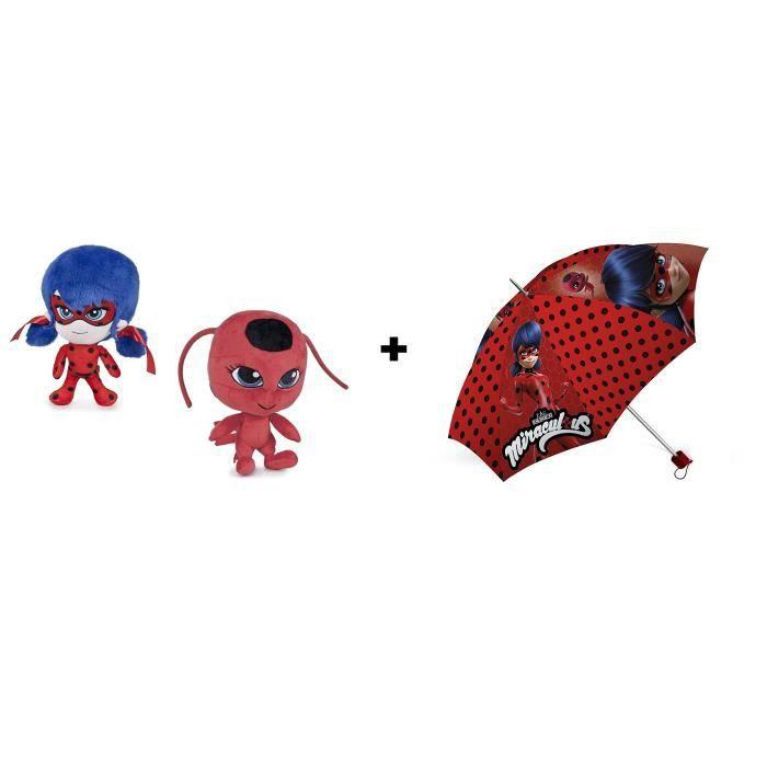 Peluche LadyBug /& Tikki 7 // 19cm Qualit/é super soft Miraculous les aventures de Ladybug et Chat Noir Pack Parapluie