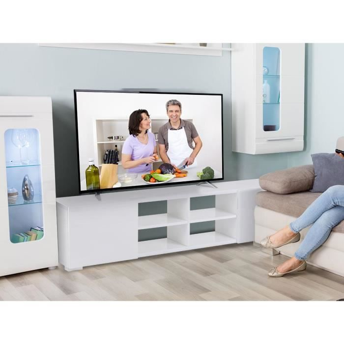 meuble tv alicia en mdf laqu blanc 4 niches et 2 portes achat vente meuble tv meuble tv. Black Bedroom Furniture Sets. Home Design Ideas
