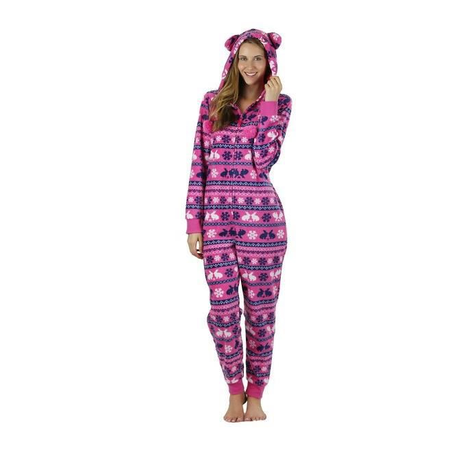 grenouill re polaire capuche femme pyjama rose achat vente chemise de nuit soldes d. Black Bedroom Furniture Sets. Home Design Ideas