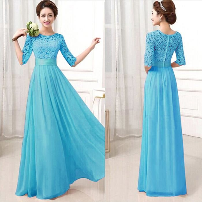 2018 New Simple Elegant Wedding Dress Beautiful Lace A: Dentelle Femme Maxi Robe De Soir/e 1/2 Manches ... Bleu