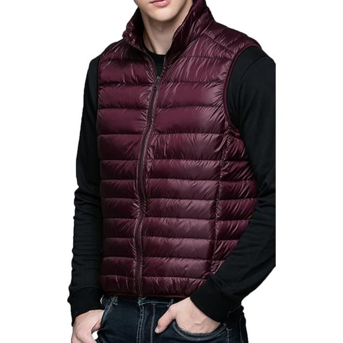 gilet homme doudoune duvet veste sans manche hiver automne blouson chaud matelass bordeau. Black Bedroom Furniture Sets. Home Design Ideas