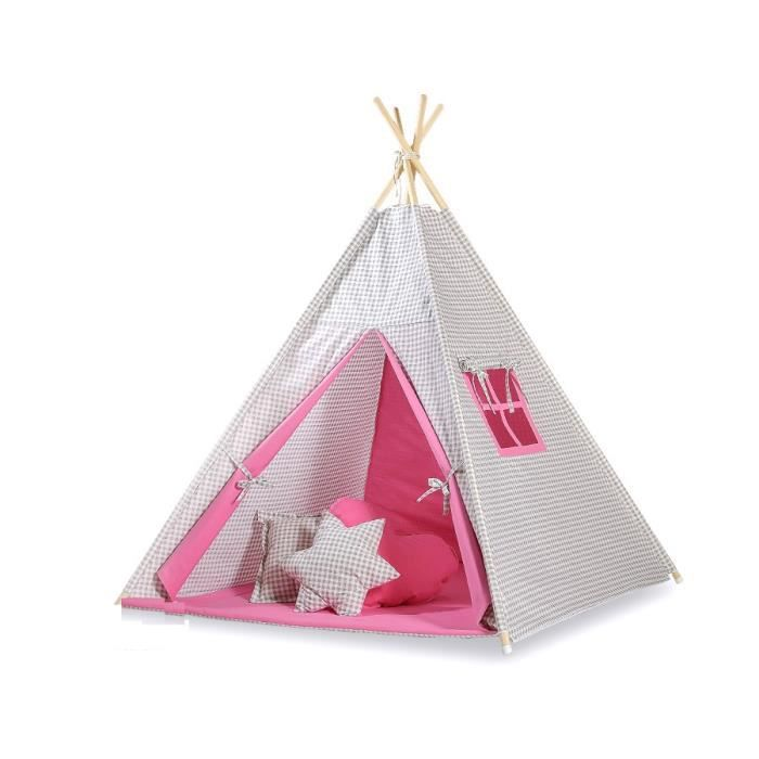 tipi teepee pour enfant avec textile rose et car achat vente tente tunnel d 39 activit. Black Bedroom Furniture Sets. Home Design Ideas