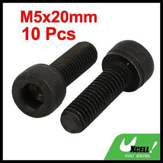 10pcs M5x20mm 12,9 /él/èves /à six pans filetage /à gauche vis /à vis noir
