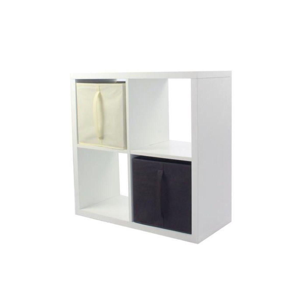 MEUBLE ÉTAGÈRE COMPO Meuble De Rangement 4 Cases + 2 Cubes Chocol