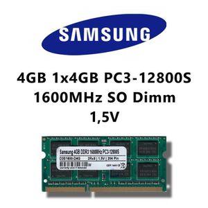 MÉMOIRE RAM Samsung 4 GB (1 x 4 Go) DDR3 1600 MHz (PC3 12800S)