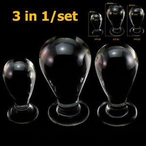 GODEMICHET - VIBRO 3 in1-set gros plug anal en verre jouets sexuels p