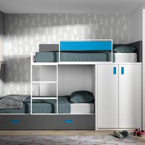 LITS SUPERPOSÉS Lit superposé avec lit d'appoint et armoire - 164,