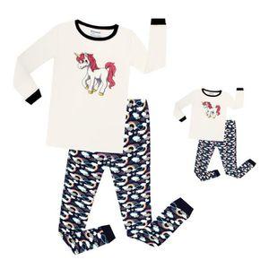 JS Âges 2-7 ans Neuf Filles Licorne Imprimer Pyjamas À Manches Longues Long Jambe Coton P