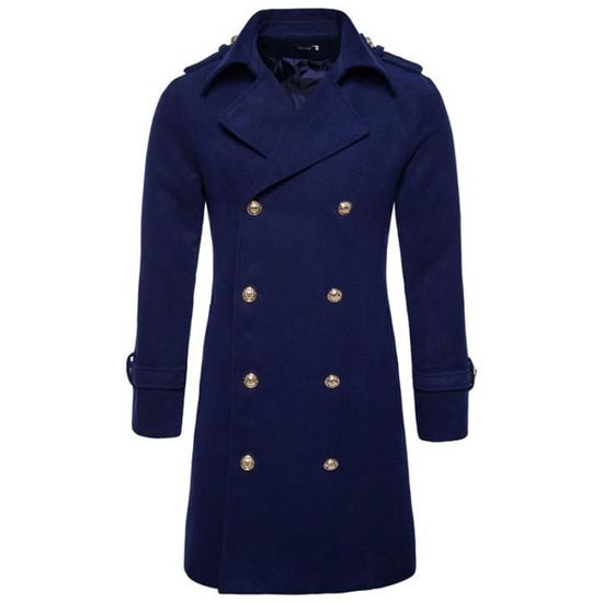 Style Homme Coat Double Britannique Longue Marque Luxe Breasted Trench Manteau Veste TKuFJc513l