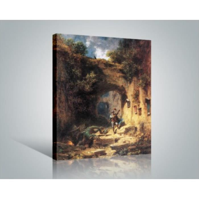 carl spitzweg poster reproduction sur toile tendue sur ch ssis le tueur de dragons 50 x 40. Black Bedroom Furniture Sets. Home Design Ideas