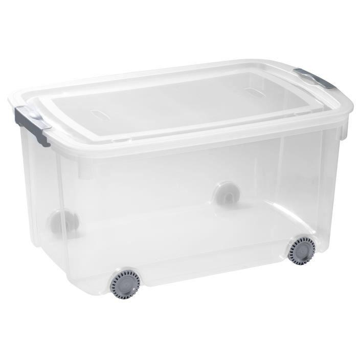 ALLIBERT Boîte de rangement Logic - Clip gris - Roulette - Couvercle transparent - 50 L