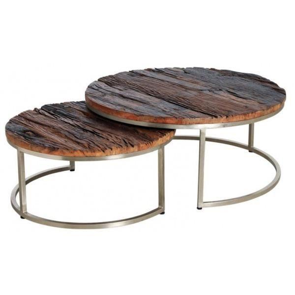 Tables gigognes en bois massif et acier (Lot de 2) Naturel