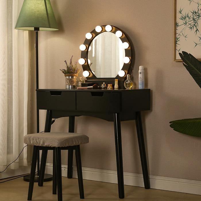 Coiffeuse avec Miroir et Ampoules pour Maquillage - Noir YYIXING - Design scandinave