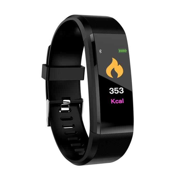 115plus écran couleur bracelet intelligent fréquence cardiaque pression artérielle bluetooth sport podomètre santé porter noir