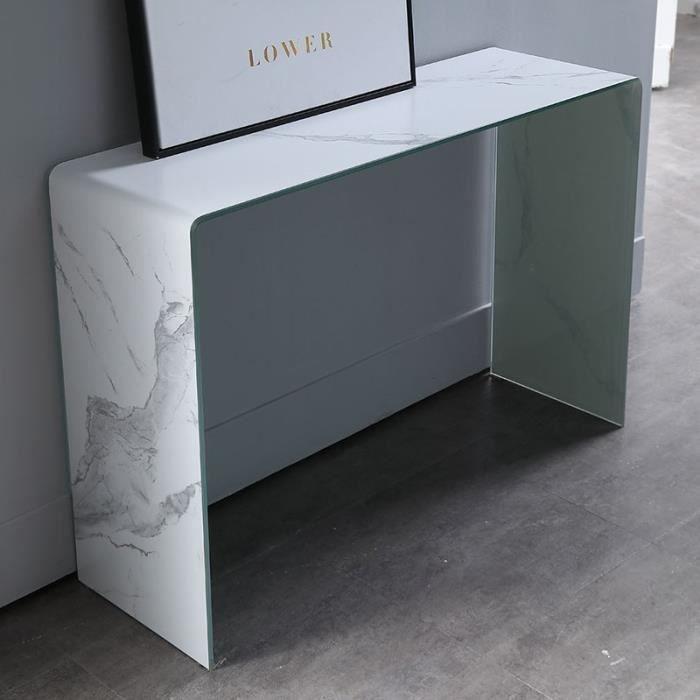Console effet marbre Lower - Blanc
