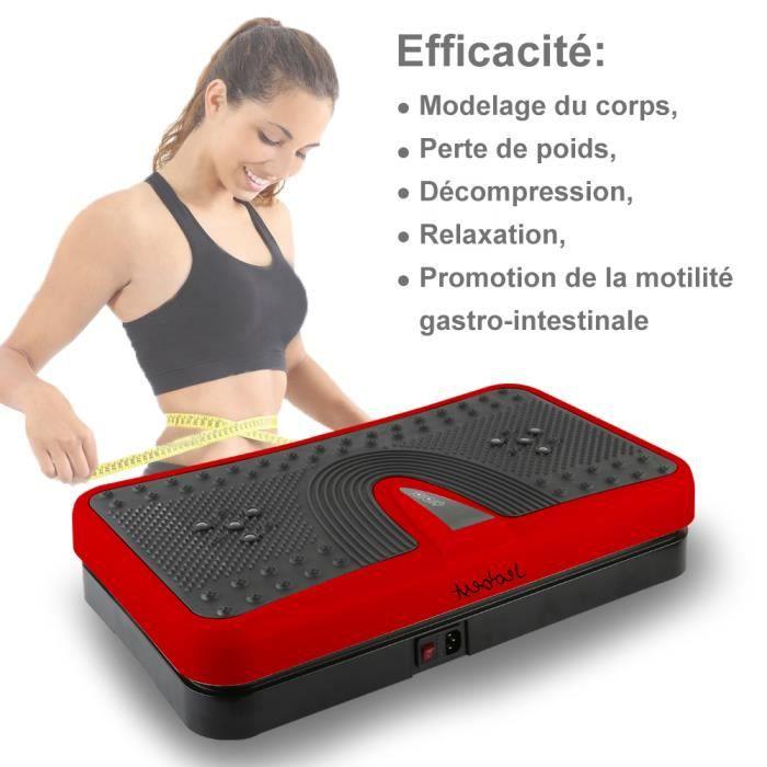 200W Plateforme Vibrante Oscillante Rouge Noir - 55x32x12,5cm