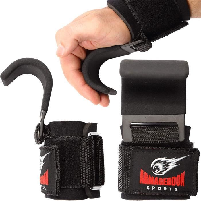 Sports Power Sangle Tractions de Levage Crochets Musculation Bandage de Poignet - Lot de 2 en Acier de Qualité Premium