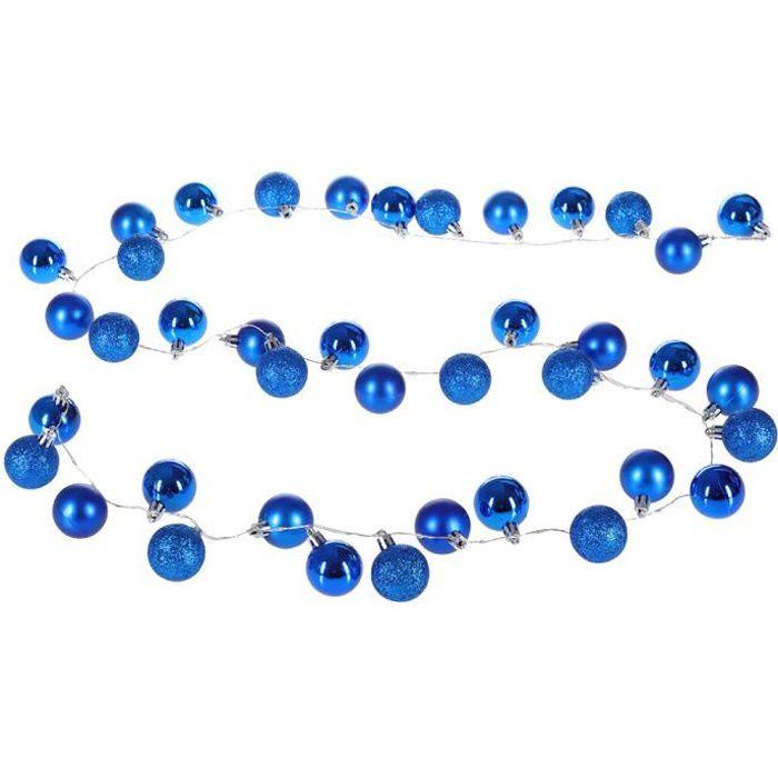 Guirlande lumineuse 40 LED fonctionnement à piles 40 boules de Noël Bleu IP44 8 effets d'éclairage intérieur extérieur minuterie
