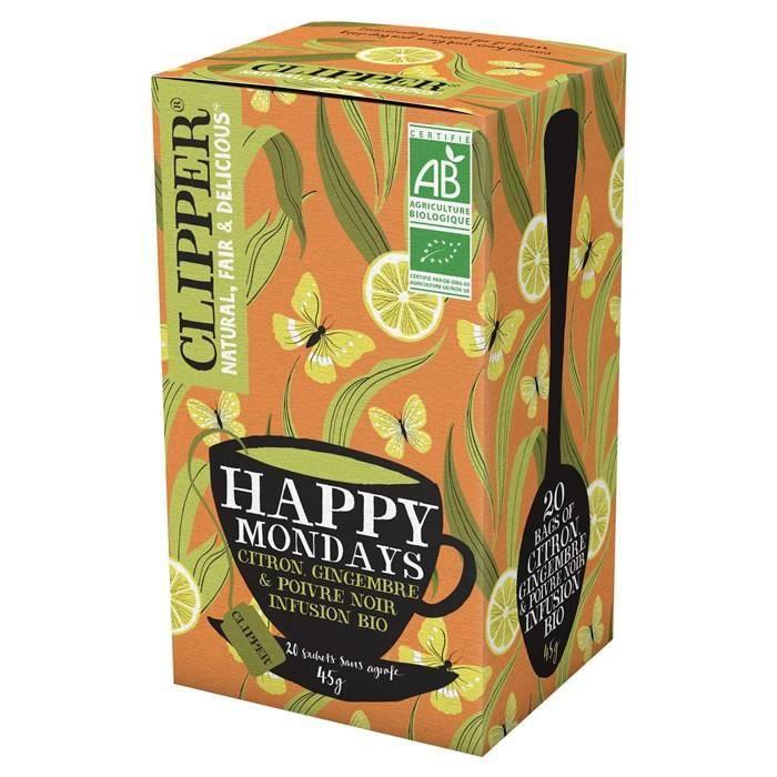 LOT DE 9 - CLIPPER® Happy Mondays Infusion citron gingembre poivre noir bio - 20 Sachets