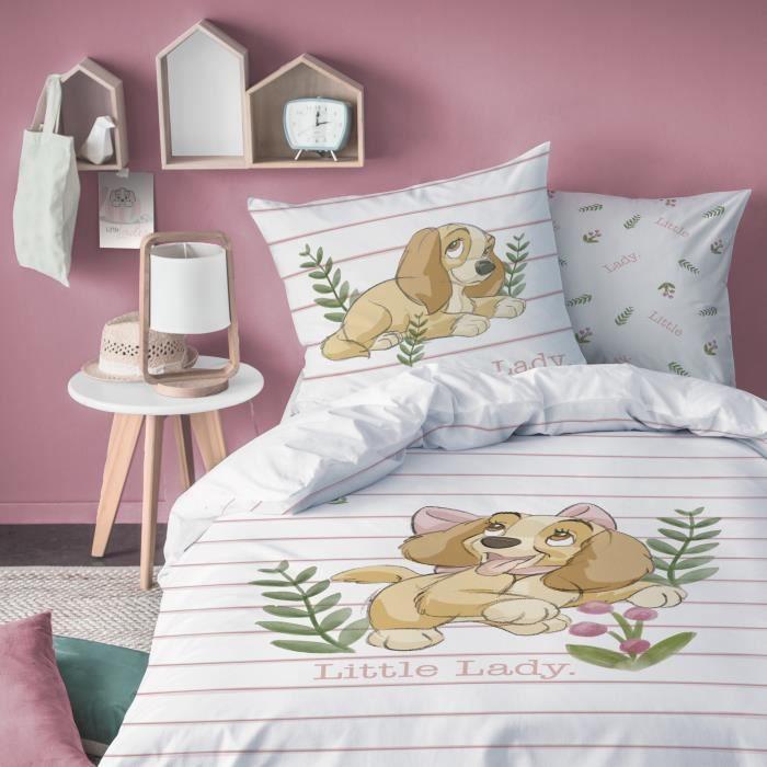 Housse de couette et taie d'oreiller 100% coton Disney La Belle et le Clochard