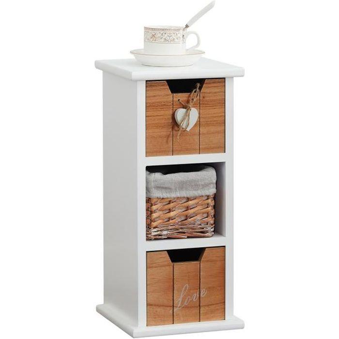 Chiffonnier PIEMONT commode avec 2 tiroirs et 1 panier, en bois de paulownia blanc style shabby chic vintage rustique romantique