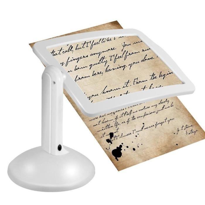 360 degrés rotation 3x loupe 2 led loupe bureau table lumière de nuit lampe de lecture avec des tampons antidérapants mains libres