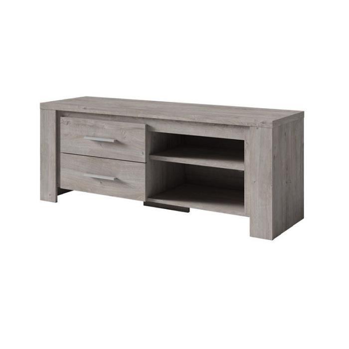 Meuble TV Adita chêne grisé 2 tiroirs 2 niches