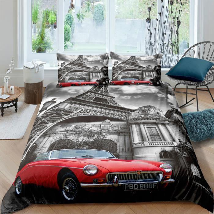 Parure de lit Rétro Paris tour eiffel et voiture rouge 220*240 cm 3D 3 pieces 1 housse de couette et 2 taies d'oreillers 63*63cm
