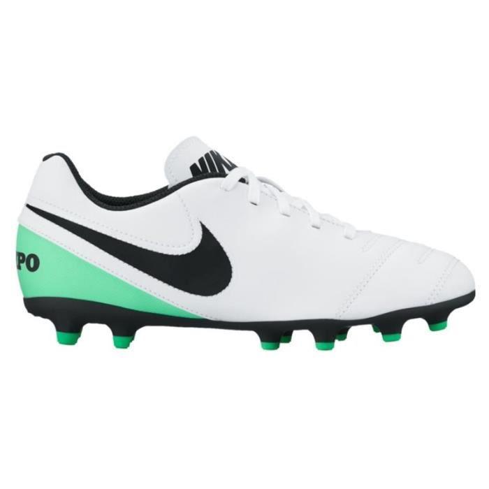 JR Tiempo Rio III FG Kids Football Boots - White/Black