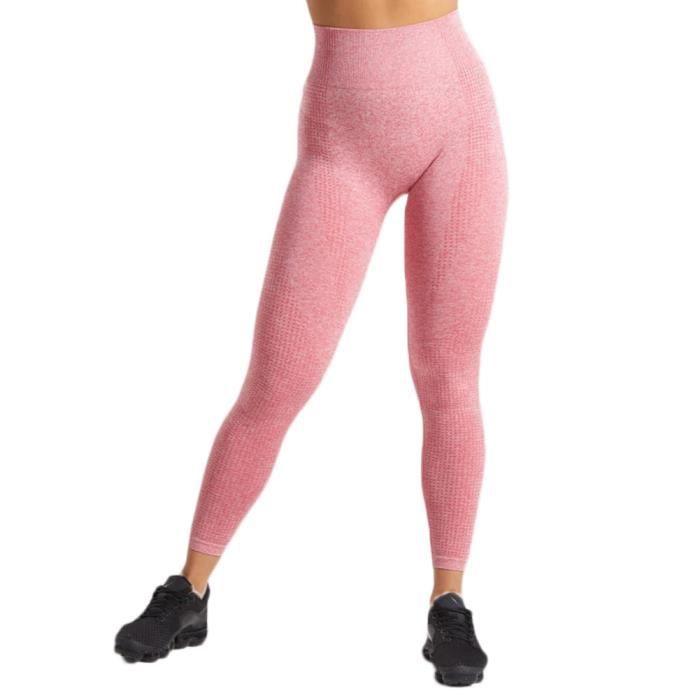 Legging Sport Femme Taille Haute Slim Fit Legging Yoga Push Up Butt Lift Collant de Compression Pour Fitness Gym Pilates,Rose Rouge