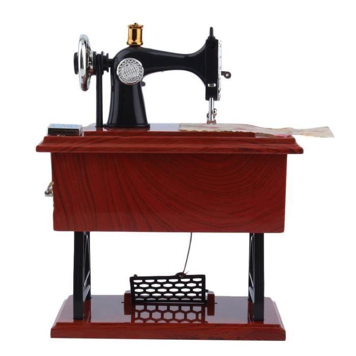 Mini Vintage Boîte à musique en forme de machine à coudre boîte à bijoux 13.2x7.5x16.5cm Cadeau précieux