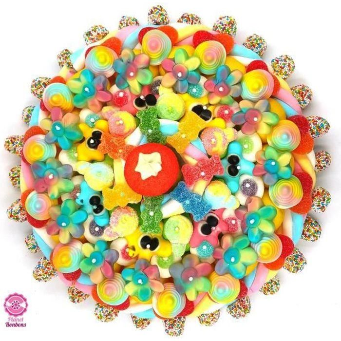 Maxi gâteau de bonbons arc en ciel 320mm