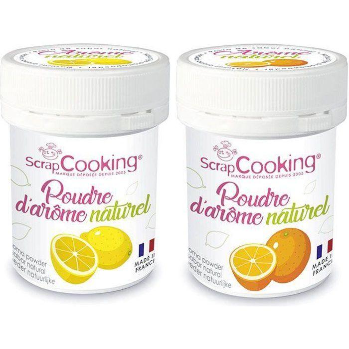 Arômes alimentaires naturels en poudre - citron et orange - 2 x 15 g