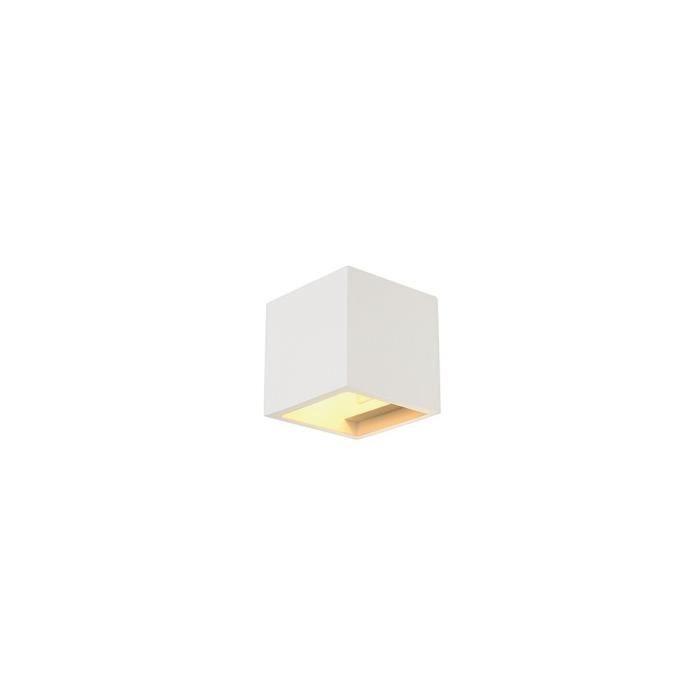 PLASTRA CUBE applique, carré, plâtre blanc, G9, max. 42W