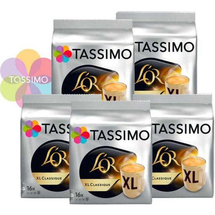 TASSIMO Café dosettes L'Or XL Classique - Lot de 5 x 16 boissons