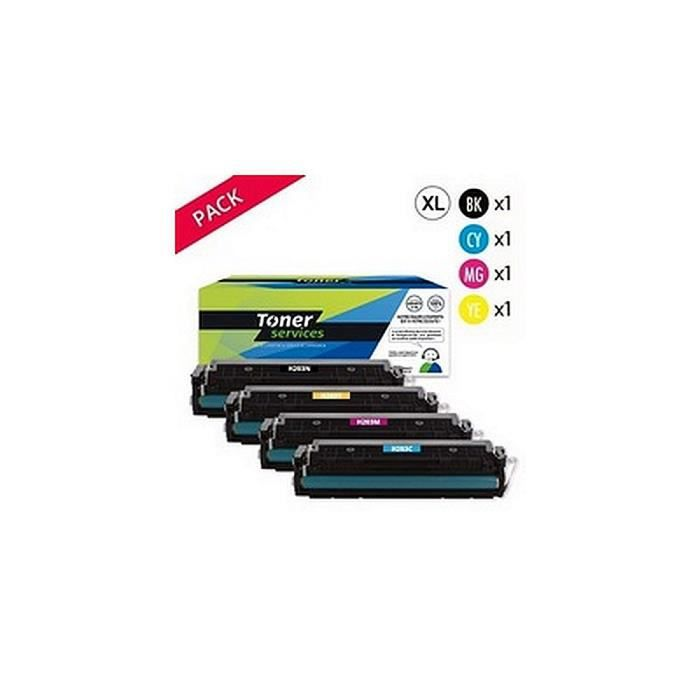 Pack de 4 Toners Laser Noir et Couleur marque Toner Services équivalent à HP 203X - HP CF541X - CF543X - CF540X - CF542X