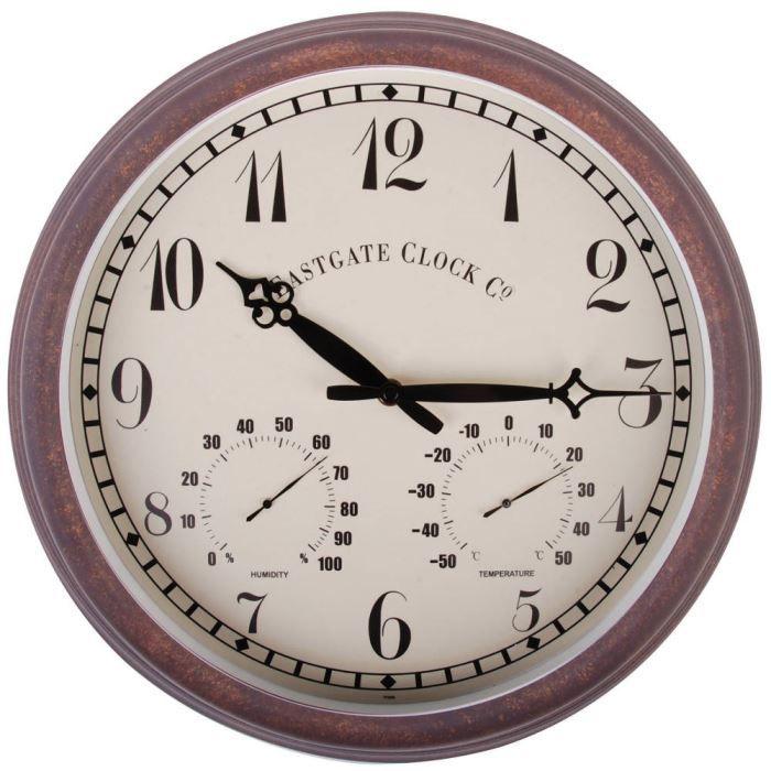 Esschert Design Horloge de station avec thermo-hygromètre 30,5cm TF008