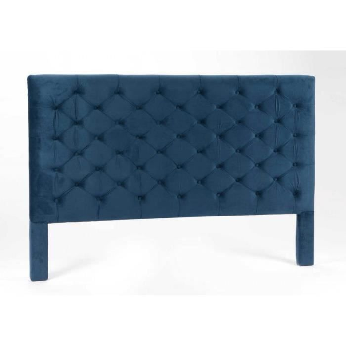 t te de lit 180 cm capitonn en velours bleu encre bleu. Black Bedroom Furniture Sets. Home Design Ideas