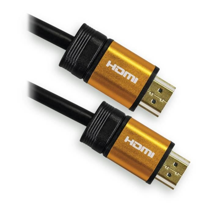 CÂBLE TV - VIDÉO - SON APM 590451 Câble HDMI Mâle / Mâle 1.4 - Plugs Jaun