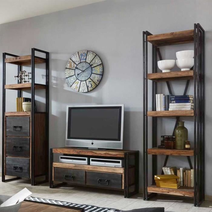 tag re de biblioth que industriel loft atylia mati re shesham achat vente meuble tag re. Black Bedroom Furniture Sets. Home Design Ideas
